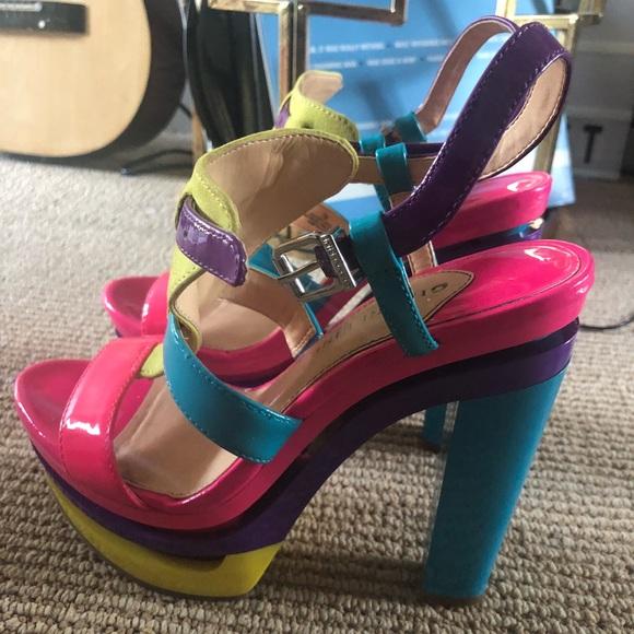 b55589be96 Gianni Bini Shoes   Multicolored Block Sandal Heels   Poshmark